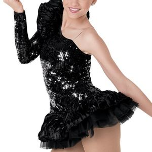 Weissman Black One Sleeve Sequin Dance Costume LC